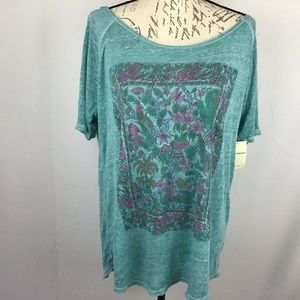 Lucky brand t-shirt with floral and bird graphic